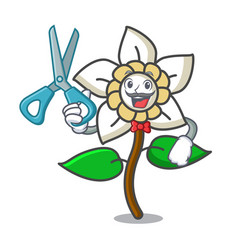 Barber jasmine flower character cartoon vector