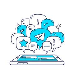 Blue color dialog speech bubbles with ico vector