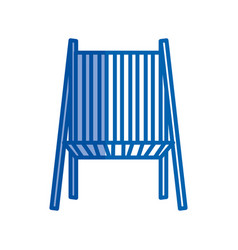 Blue shading silhouette of beach chair front view vector