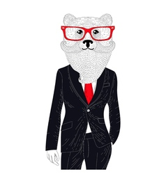 brutal bear in elegant classic suit Hand drawn vector image