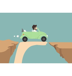 Businessman driving car on hand vector