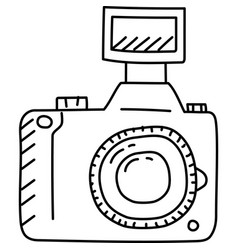 Camera icon doddle hand drawn or black outline vector