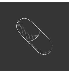 Capsule pill drawn in chalk icon vector