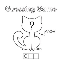 Cartoon cat guessing game vector