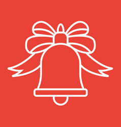 christmas bell with bow line icon new year vector image