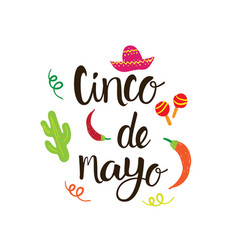 cinco de mayo mexican holiday greeting card hand vector image