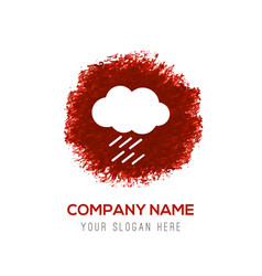 cloud raining icon - red watercolor circle splash vector image