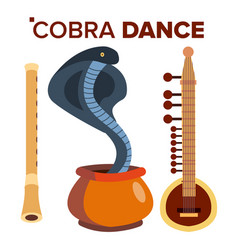 Cobra dance load of snakes flute and pot vector