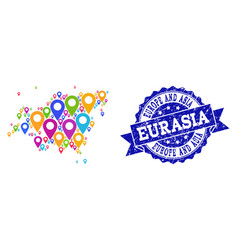 Collage map of europe and asia with map pointers vector