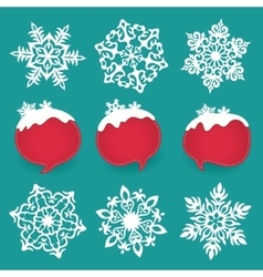 Collection of snowflakes and winter lables with vector