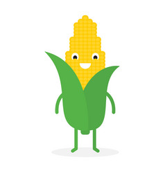 corn cute vegetable character vector image