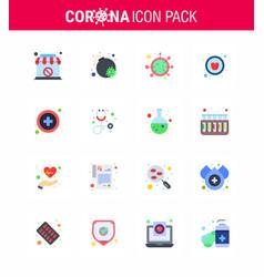 Coronavirus awareness icons 16 flat color icon vector