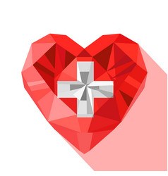 Crystal swiss heart flag switzerland vector