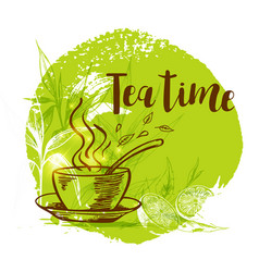 cup of tea and bamboo branch vector image