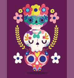 day dead catrinas flowers decoration vector image