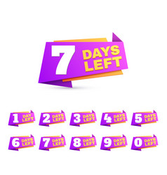 days left countdown day to go numbers offer sale vector image