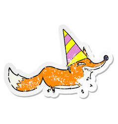 Distressed sticker of a cartoon sly fox in party vector