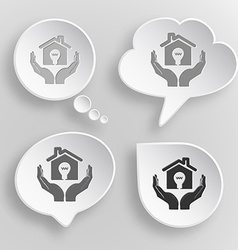 economy in hands White flat buttons on gray vector image