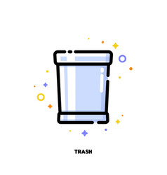 flat icon of trash can for office work concept vector image