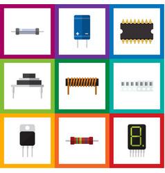 flat icon technology set of memory microprocessor vector image