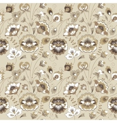Floral seamless pattern in beige color scheme vector image