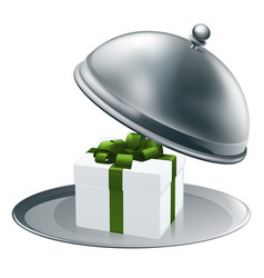 Gift on a silver platter vector