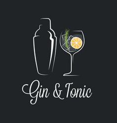 Gin tonic cocktail logo shaker with glass vector
