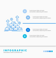 gold coin cash money growth infographics template vector image
