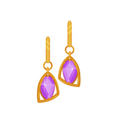 gold earrings with purple gemstones fashionable vector image