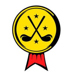 Golf golden award with clubs icon icon cartoon vector