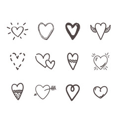 Hand drawn hearts outline scribble brush heart vector
