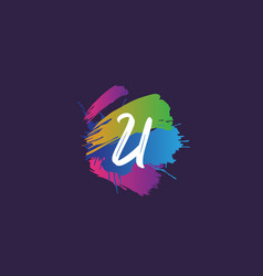 Hand lettering brush initial letter u with vector