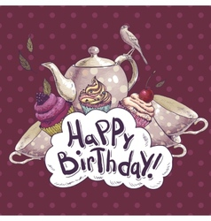 Happy Birthday card with a Cupcake and Pot vector