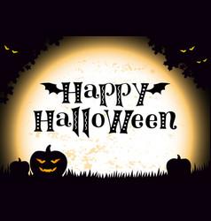 happy halloween in black pumpkin monsters vector image