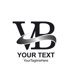 Initial letter vb logo template colored silver vector
