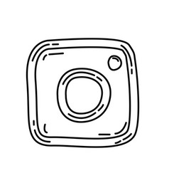 Instagram icon doodle hand drawn or black vector