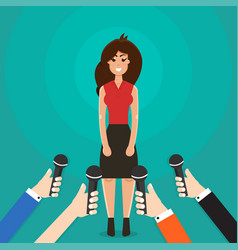 interview a businesswoman or politician answering vector image
