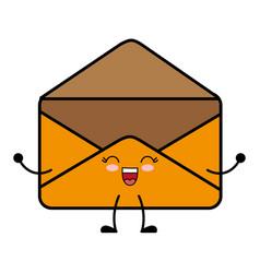 Kawaii envelope icon vector