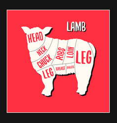 Lamb meat cutting charts vector