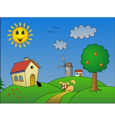 Landscape with happy sun vector