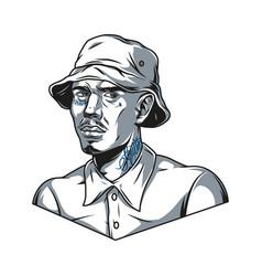 Latino man in panama hat vector