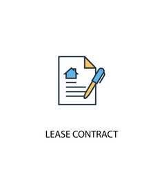 Lease contract concept 2 colored line icon simple vector