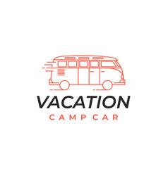 line art camper van logo emblems and badges vector image