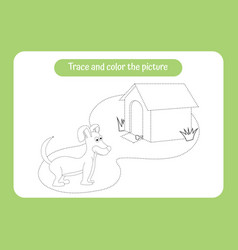 little puppy trace and color picture children vector image