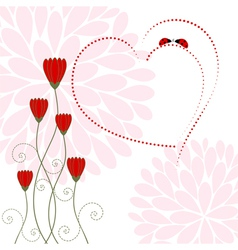 Love Card with Flower and Ladybug vector image