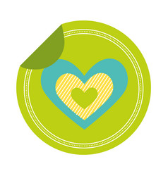 Love heart sticker on white background vector