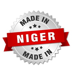 Made in Niger silver badge with red ribbon vector