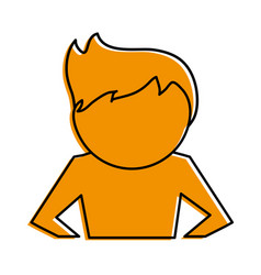 man with hands on hips cartoon icon image vector image