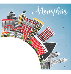 Memphis usa city skyline with color buildings vector