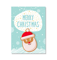 merry christmas greeting card gingerbread santa vector image